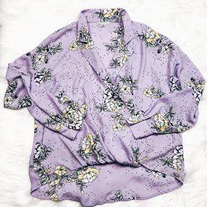 Ophelia Roe Anthropologie Purple Floral Wrap Top M